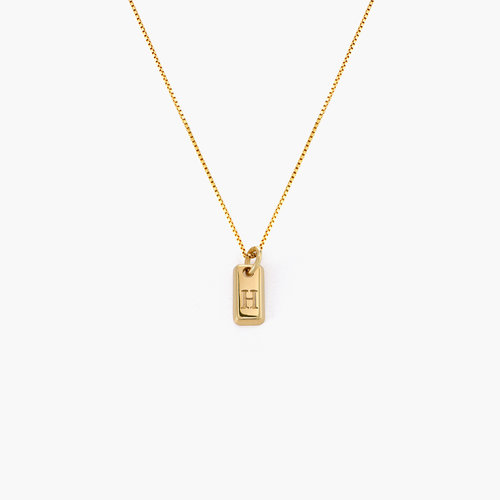 Lucille Initial Tag Necklace - Gold Vermeil product photo