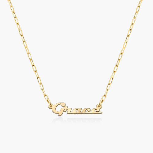 LINK CHAIN NAME NECKLACE - 14K SOLID GOLD product photo