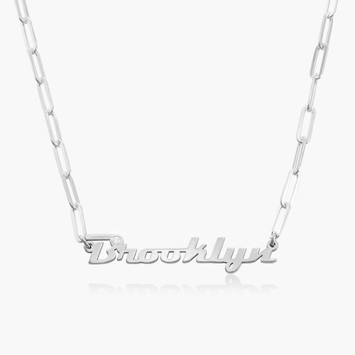 Link Chain Name Necklace with Diamond - Sterling Silver product photo