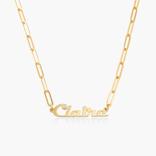 Link Chain Name Necklace with Diamond - Gold Plated product photo