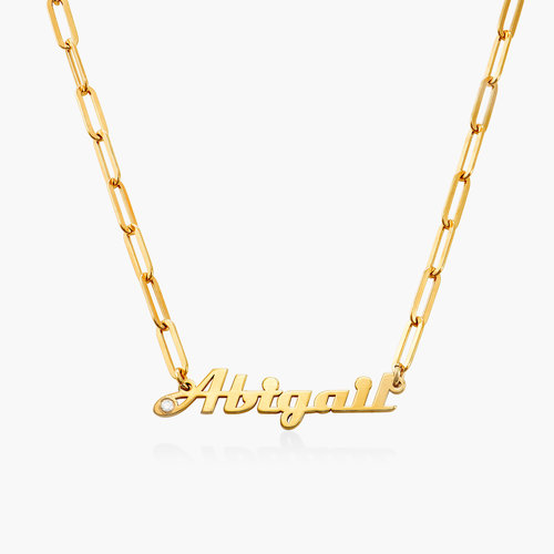 Link Chain Name Necklace with Diamond - Gold Vermeil product photo