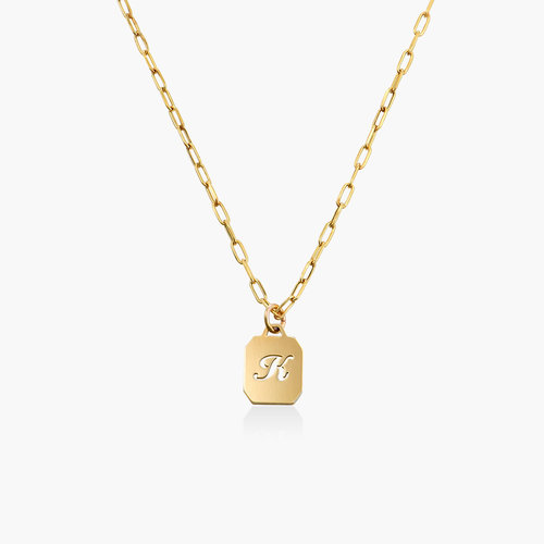 CHAIN REACTION INITIAL NECKLACE - 14K SOLID GOLD product photo
