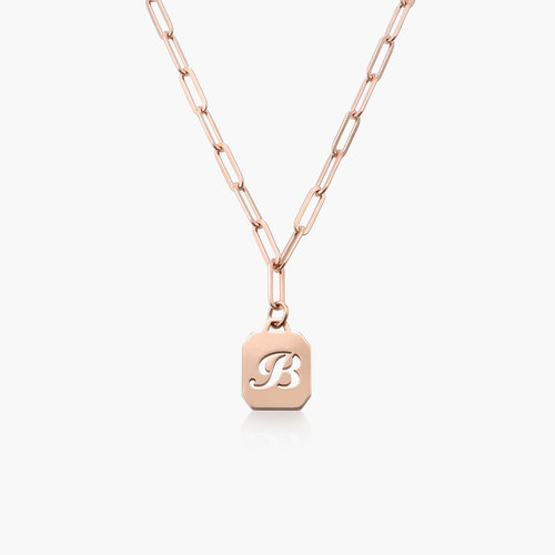 Chain Reaction Initial Necklace - Rose Gold Plated product photo