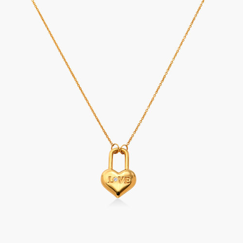 Mini Love Heart Lock Necklace - Gold Vermeil product photo