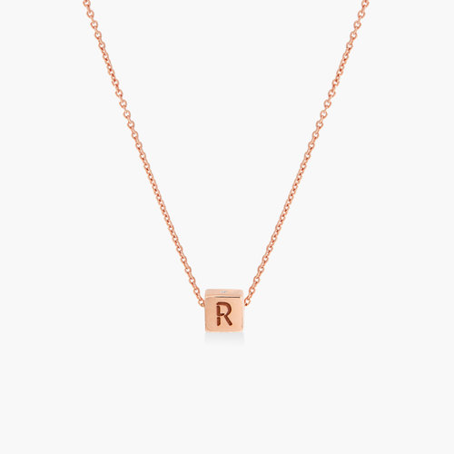 Initial Dice Necklace - Rose Gold Plating product photo