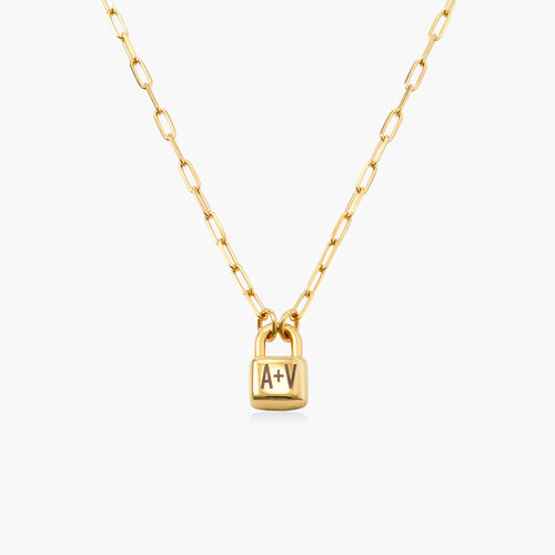 Initial Lock Necklace in Gold Plating product photo