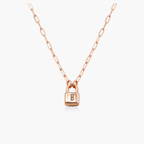 Initial Lock Necklace in Rose Gold Plating product photo