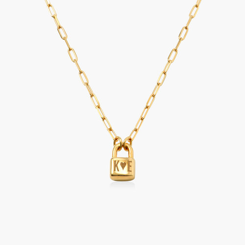 Initial Lock Necklace in Vermeil product photo
