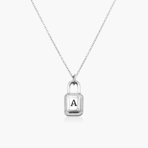 Initial Padlock Necklace - Silver with Cubic Zirconia product photo