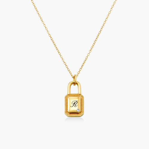 Initial Padlock Necklace - Gold Plating with Cubic Zirconia product photo