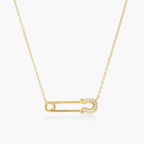 Safety Pin Necklace with Cubic Zirconia - Gold Plating product photo
