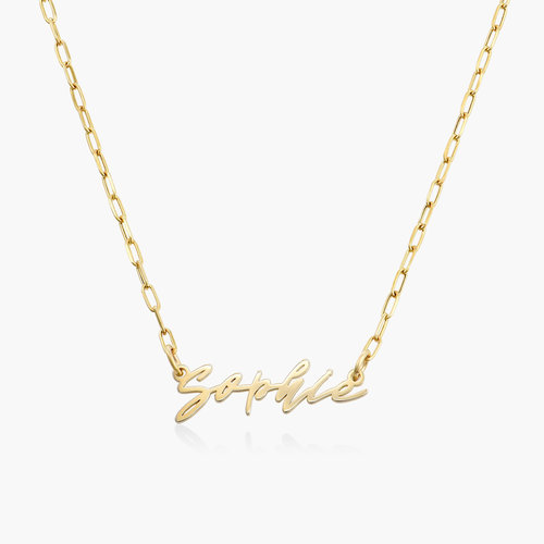 COCO NAME LINK NECKLACE - 14K SOLID GOLD product photo
