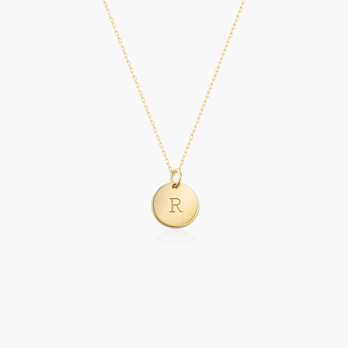 Willow Disc Initial Necklace - 14K Solid Gold product photo