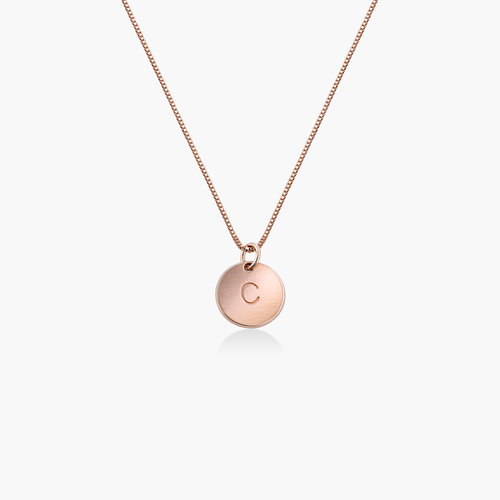 Willow Disc Initial Necklace - Rose Gold Plating product photo