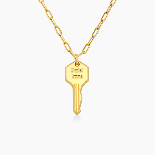 Key Link Chain Necklace- Gold Plating product photo