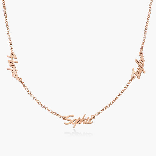 Real Love Multiple Name Necklace - Rose Gold Plated product photo