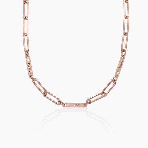 Ivy Name Paperclip Chain Necklace with Diamond - Rose Gold Plated product photo