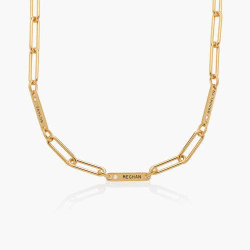 Ivy Name Paperclip Chain Necklace with Diamond - Gold Vermeil product photo