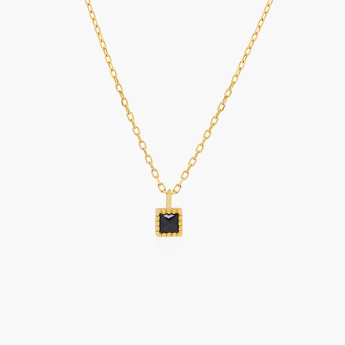 Tabitha Black Spinel Necklace - 14K Solid Gold product photo
