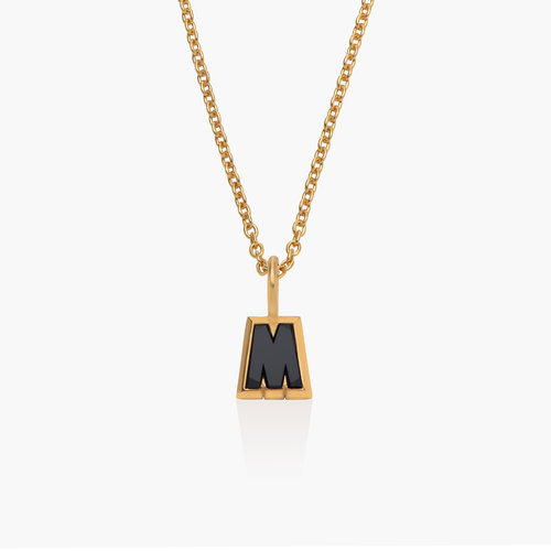 Emanuelle Initial Necklace with Black Diamond - Gold Plated product photo