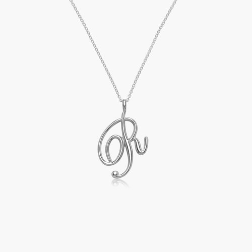 Nina Large Initial Musical Necklace - Silver product photo