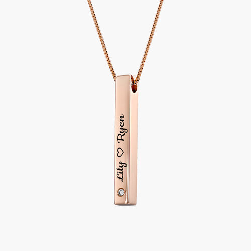 Pillar Bar Engraved Necklace With Diamonds - Rose Gold Plated product photo