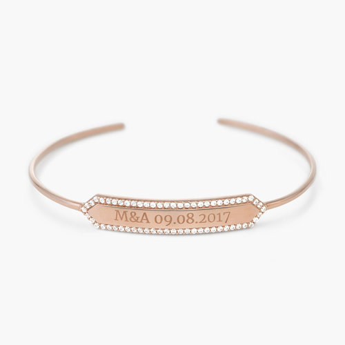 Luna Bangle with Cubic Zirconia - Rose Gold Plated product photo