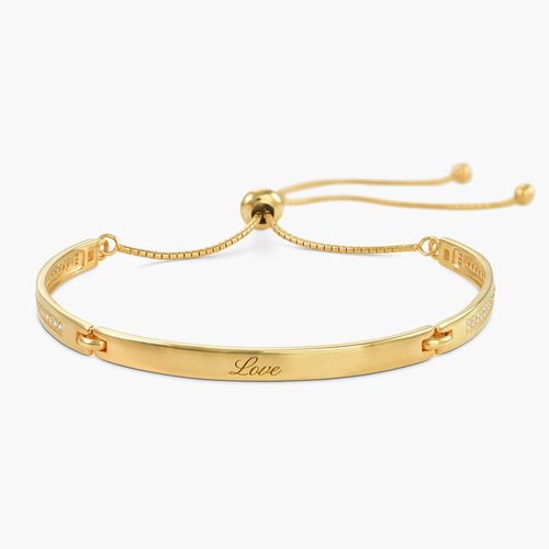 Luna Adjustable Name Bracelet - Gold Plated product photo