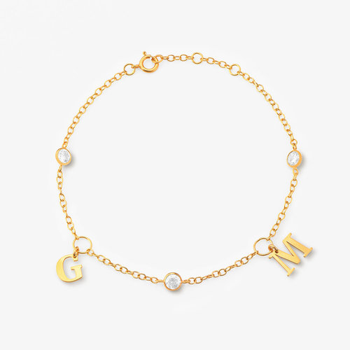 Initial bracelet with Cubic Zirconia - Gold Plated product photo