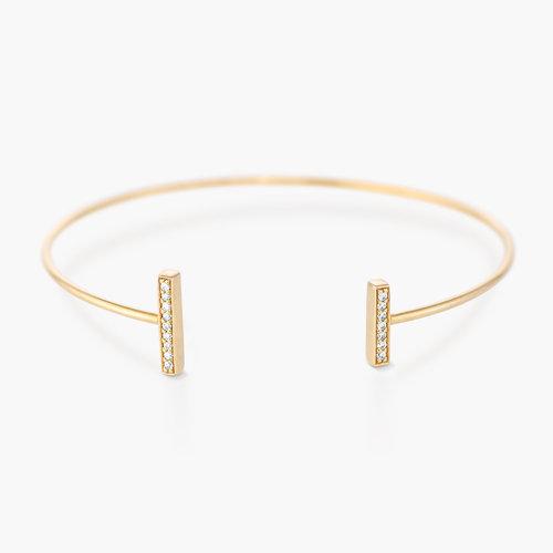 Open Double Bar Bangle Bracelet - Gold Plated product photo