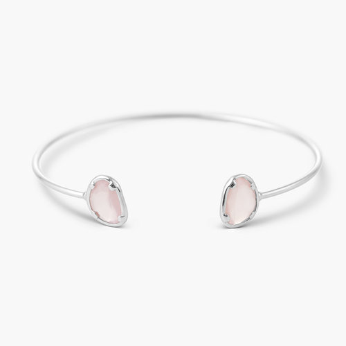Pink Chalcedony Bangle Bracelet - Silver product photo