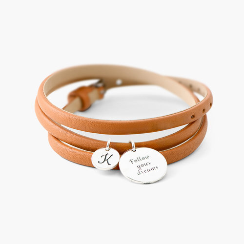 Wrap Around Leather Bracelet - Silver product photo