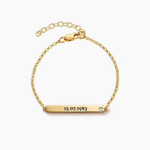 ID Name Bracelet with Diamond - Gold Plated product photo