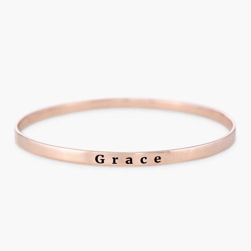 Engraved Bangle Bracelet - Rose Gold Plated product photo