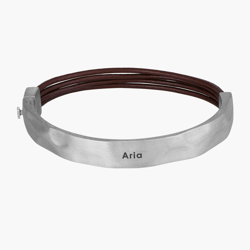 Cappucino Steel Cuff - Brown Leather & Silver Steel product photo