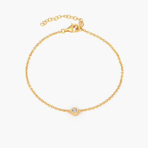 Luna Single Diamond Bracelet - Gold Plated product photo