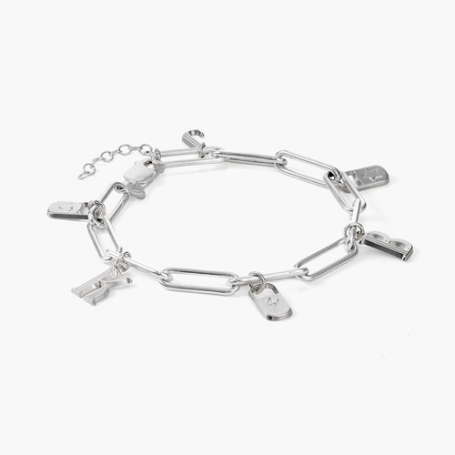 The Charmer Link Initial Bracelet - Sterling Silver product photo