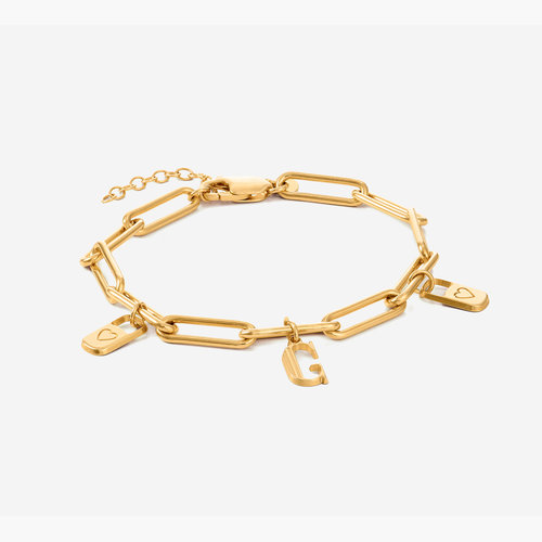 The Charmer Link Initial Bracelet - Gold Plated product photo