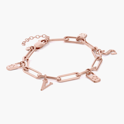 The Charmer Link Initial Bracelet - Rose Gold Plated product photo