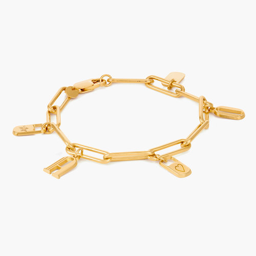 The Charmer Link Initial Bracelet - Gold Vermeil product photo