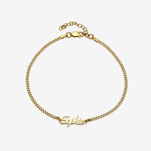Allora Name Ankle Bracelet - Gold Vermeil product photo