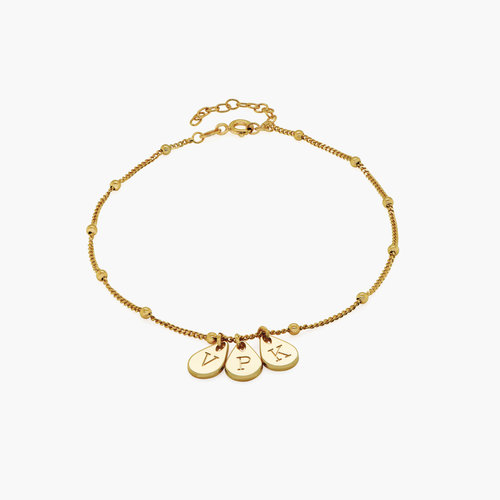 Maren Ankle Bracelet with Initials - Gold Plating product photo