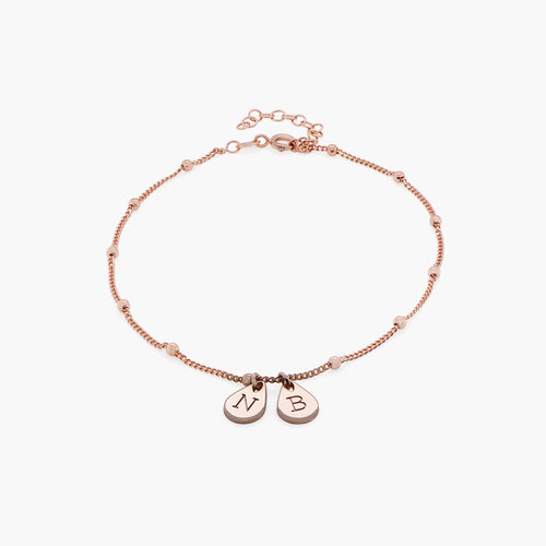 Maren Ankle Bracelet with Initials - Rose Gold Plating product photo