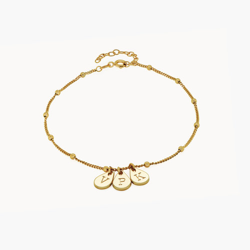 Maren Ankle Bracelet with Initials - Gold Vermeil product photo