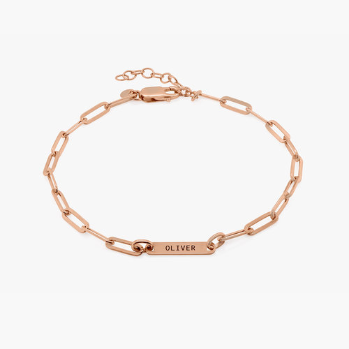 Ivy Name Paperclip Chain Anklet - Rose Gold Plating product photo