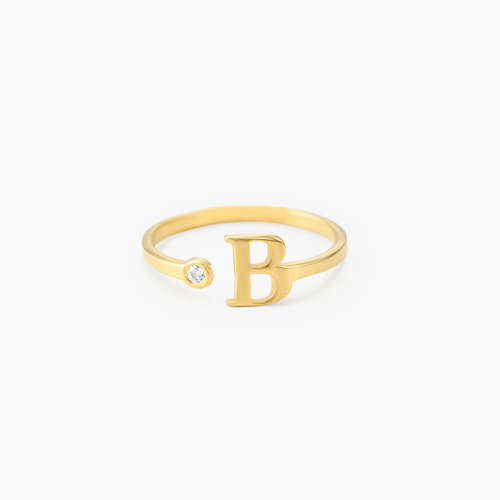 Tiny Initial Ring - Gold Plated product photo