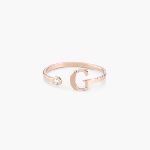 Tiny Initial Ring - Rose Gold Plated product photo