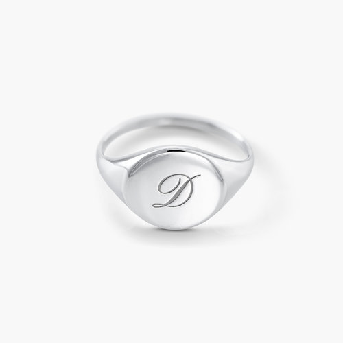Luna Round Initial Ring - Silver product photo