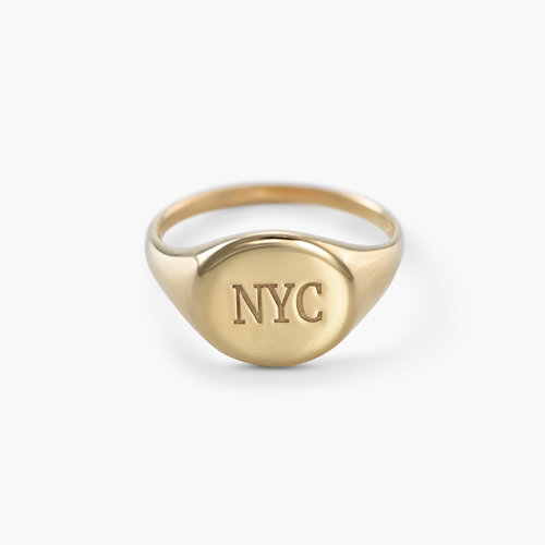 Luna Round Initial Ring - Gold Plated product photo