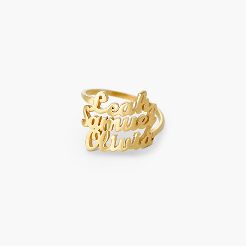 Three's a Charm Name Ring - Gold Plated product photo
